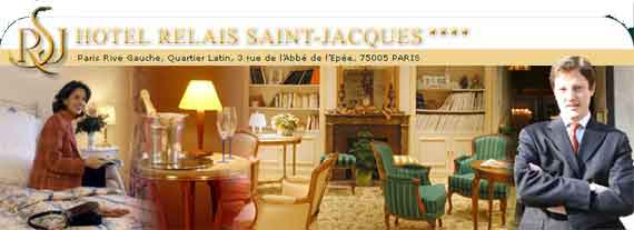 Make your online reservation to Hotel Hotel Relais Saint Jacques Paris, four star hotel, 5° arrondissement, close to Luxembourg and quartier Latin