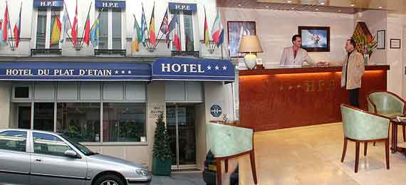 Make your online reservation to Hotel Plat d'Etain Paris, three star hotel, III° arrondissement, close to Sentier, les Halles.